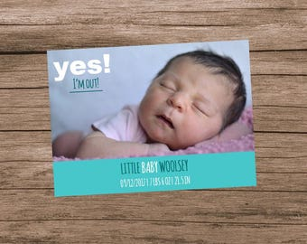 Baby Announcement, Birth Announcement, Baby is Here, Baby is Here, Gender Neutral Birth Announcement, Funny Birth Announcement, Digital File