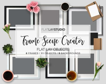 New! FRAME MOCKUP SCENE Creator / 6 Frames 11 Objects 9 Backgrounds / Flat Lay Minimalist Styled Stock Photo