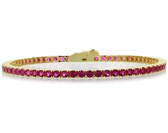 2.5mm Gold Plated Silver 3.6 ct Round CZ Simulated Ruby Tennis Bracelet 7.25in(CSB013RD25YG-RB)