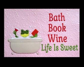 In Hoop Bath Book Wine Pillow Pal