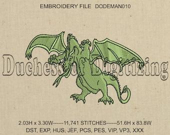 Dragon Embroidery Design, Dragon Embroidery File, DODEMAN010