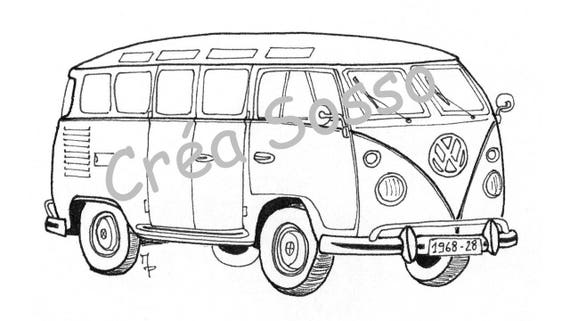 porte cl s dessin voiture ancienne combi vw. Black Bedroom Furniture Sets. Home Design Ideas