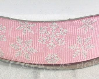 "7/8"", White Glitter Snowflakes, US Designer Ribbon, Snowflake Ribbon, Pink, Christmas Ribbon, Hair Bow Ribbon, Wholesale Ribbon"
