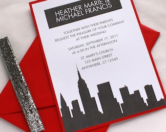 New York Wedding Invitation, City Skyline, Custom Invitation