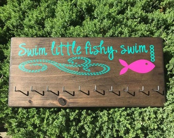 Swimming medal display for swim medals and swimmer ribbons, swim little fishy swim