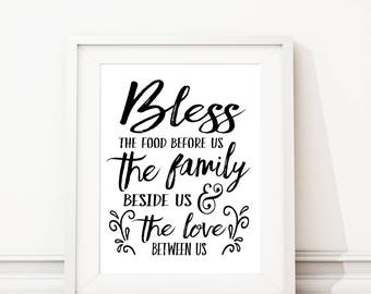 Bless The Food Before Us Sign Art Print. Dinner Prayer. Kitchen Wall Decor. Kitchen Decor. Kitchen Art. Dining Room Wall Art. S495