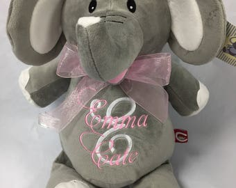 Personalized Elephant, Baby Cubbies, Birth Announcement, Elle Elephant, Stuffed CubbyToy with Name.