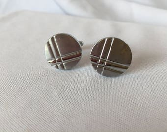 Vintage, Silver Striped, Round Cufflinks.
