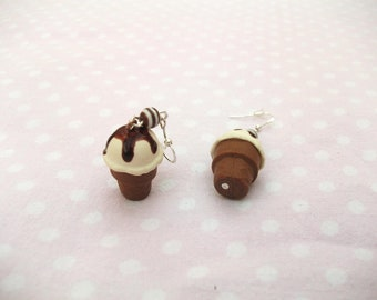 Earrings ice cream cone, vanilla-chocolate, Pearl