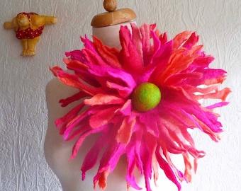 Blumen Brosche, großer Filz Blumenbrosche, Corsage, Stift, handgemacht, Filz Blume, Lagenlook, MADE TO ORDER, maßgeschneiderte, maßgeschneiderte, umweltfreundlich