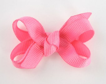 Baby Hair Bow in Hot Pink - Extra Small Boutique Bow On Mini Snap Clip for Fine Hair Newborn to Toddler - Non Slip Barrette mm