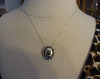 """Vintage Sterling Silver and Onyx Southwestern Concha Pendant on 18"""" Sterling Chain"""