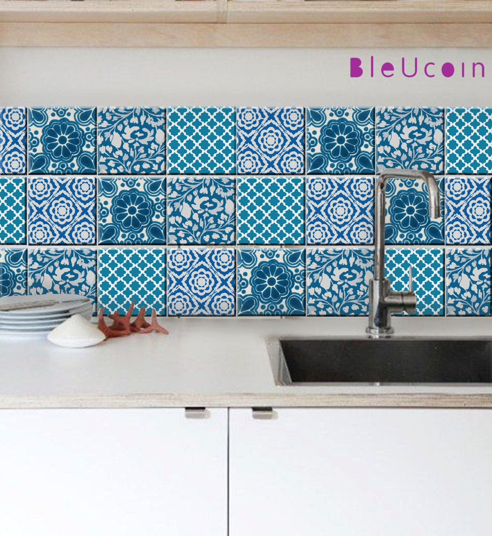 Indian Jaipur Blue Pottery Tile/ Wall/ Floor/ Stair Riser/