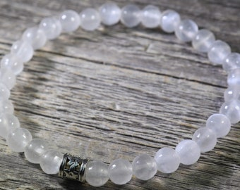 Selenite Moon Goddess Bracelet or Anklet 6mm with Positive Healing Energy!