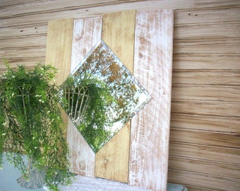 Country Cottage Mirror / Country Farmhouse Decor / Large Handmade Wall Mirror / Beach House Mirror / Wall Decoration / Cottage Style Mirror