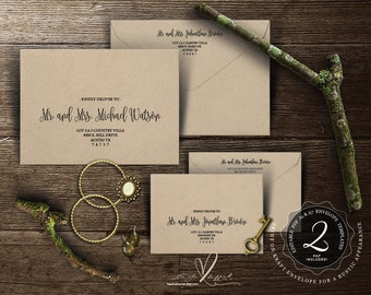 Editable Envelope template , Instant Download PDF, Kraft rustic calligraphy Theme for Wedding Invitation Set (TED334_21)