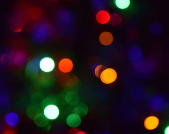 Christmas tree lights - Bokeh photography print, abstract photography, colour print, pretty lights