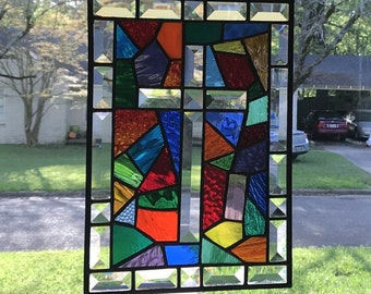 Abstract Cross Stained Glass Window Suncatcher in Beautiful Colors & Textures with Bevel Border 9x13