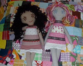 Cloth Rag Doll PDF Sewing Pattern Patchwork Cute, Easy Rag Doll Sewing Pattern