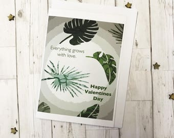 Botanical Leaves Valentines Day Greetings Card Tropical Leafy Green