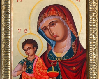 The Virgin and child, Virgin Mary, hand painted, Greek icon, Russian icon, Byzantine icon, religious gift, orthodox icon, Christmas gift