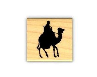 Camel Rider Silhouette Mounted African / Arabian rubber stamp, desert, bedouin, Egyptian, nativity magi, Christmas, Sweet Grass Stamps No.17