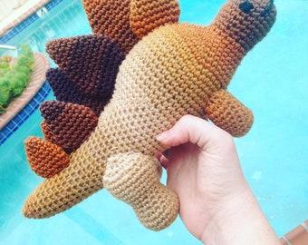Brown Stegosaurus, Dinosaur Doll, Kids Dinosaur, Children's Dino, Brown Baby Decor, Tan Baby Decor, Kids Birthday Gift, Kids Easter Gift