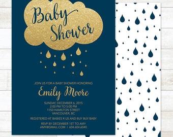 Navy Baby Shower Invitation Boy, Baby Shower Invitation Printable, Navy Blue and Gold Baby Shower Invitation, Boy Baby Shower Invite