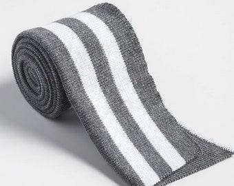 Folded ribbing  DARK MELANGE white stripes