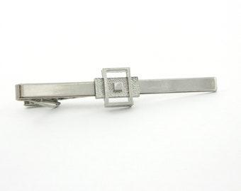 Oversized Silver Geometric Tie Clip