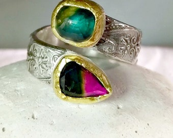 Watermelon Tourmaline and Sapphire  Ring, Multi Stone ring,  Bypass  Ring,  22 kt yellow  gold , silver   and gemstone ring