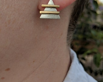 Audrey Earrings // Brass and Sterling silver