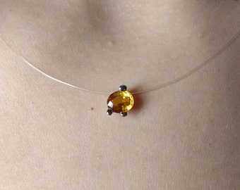 Pendant 18 K gold and orange Sapphire