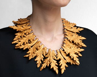 Gold Statement Necklace, Christmas Wedding, Baroque, Holiday Party, New Years Eve Necklace, Statement Piece