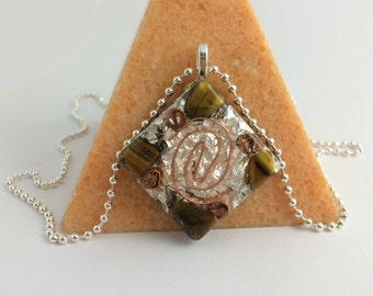 Tigers Eye Orgone Pendant Masculine Orgonite Positive Energy Silver Manly Necklace
