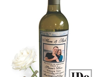 Parents Wine Label - Mother of the Bride - Mother of the Groom - Thank You Mom & Dad - Personalized - 2 Labels