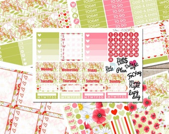PRETTY POPPIES Planner STICKERS Individual Sheets sized for the Erin Condren Life Planner