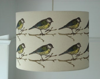 Hand printed fabric lampshade, Bird print