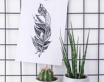 Spring illustration art Print, Zentangle spring drawing.
