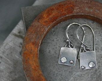 Tiny silver earrings,small earrings,silver,sterling sterling earrings,maggiesmeltdown Maggie's Meltdown,square earrings,drops,dangles