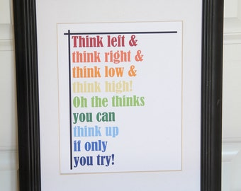 Dr. Seuss Print - The thinks you can think -  Print - Inspirational quote - Children Playroom - colorful print - wall decor - fun art