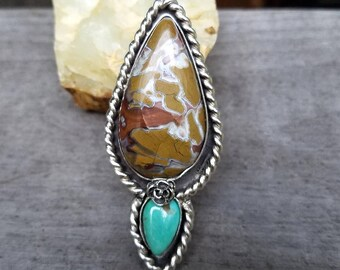 Stone Canyon Agate and Turquoise Statement Ring Southwestern Style Bold Bohemian Ring Custom Sizes