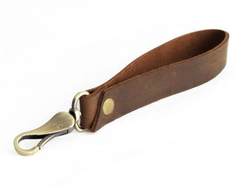 Brown Leather Wristlet Strap Antique Brass Clip On