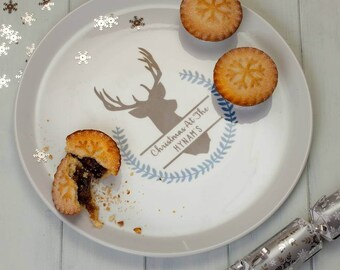 Personalised Winter Stag Large Serving Plate