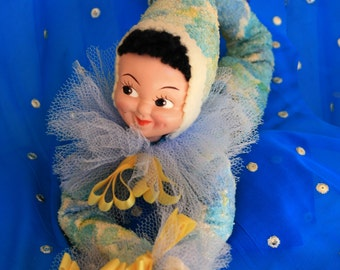 1940's Bed doll ,  Felt and terry cloth Pixie Bed doll with Net accents ~ Personality plus Adorable!