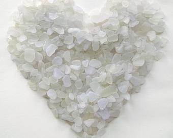 1 lb - white natural sea glass- medium-size