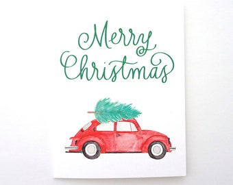 Volkswagen Beetle Merry Christmas card. VW bug Christmas tree card. Red VW beetle bug.