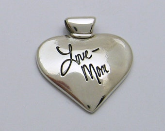 Silver Heart Pendant With Your ACTUAL Handwriting, Handwriting Jewelry, Handwriting Pendant, Handwriting Heart, Personalized Jewelry, Silver