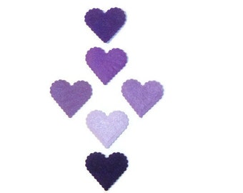 Felt heart, heart, purple, premade hearts, embellishments, crafting, shades of purple, heart shape, valentine, valentines day, February