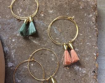 Large Brass Hoop Tassel Earrings